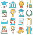 Graduation Thin Line Icons vector image