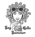 hand drawn summer in hippie style vector image