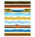 landscape earthy slice soil section mountains with vector image