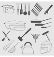 Monochrome icon set with cookware vector image