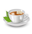 realistic detailed 3d black teabag and white tea vector image