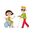 woman in wheelchair blind man with walking cane vector image
