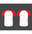 Mens raglan t-shirt in front and back views vector image