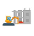 orange excavator and unfinished building with pile vector image