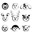 cute animal faces vector image vector image