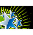blue stars with green rays vector image
