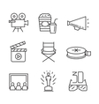 flat movie icons vector image vector image