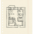 Redevelopment of apartment sketch vector image vector image