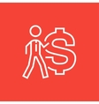 Businessman with big dollar symbol line icon vector image