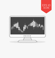 Computer with candle stick graph chart icon Stock vector image