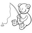 fishing bear coloring book vector image
