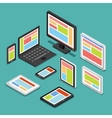 Isometric 3D responsive web design concept with vector image