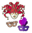 set of three decorated venetian carnival masks vector image