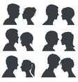 couple faces young boy and girl head vector image