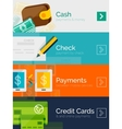 Set of flat design concepts payment online vector image vector image