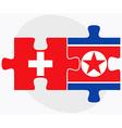 Switzerland and Korea-North Flags vector image