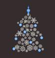 Christmas tree flat design Greeting card vector image vector image
