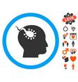 brain parasite icon with lovely bonus vector image