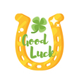 flat style of golden horseshoe with clover vector image
