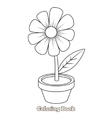 Flower cartoon coloring book vector image