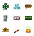 gambling icons set flat style vector image