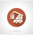 logistics machine orange round icon vector image