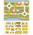 Set cars and highways map vector image