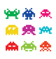 Space invaders 8bit aliens icons set vector image