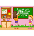 Teacher writing on the board in classroom vector image