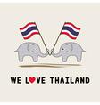 Two elephants hold Thai flag1 vector image