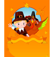 thanksgiving pilgrim and turkey vector image vector image