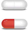 White and red pills or capsules vector image vector image