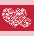 two hearts ornament vector image vector image