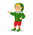 cartoon christmas elf stands with hands vector image