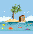 paradise island with fish and tropical palm vector image