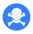 Pirate skull and crossbones icon in black style vector image