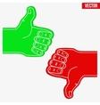 Sports Fans Foam Fingers Loke and Dislike vector image