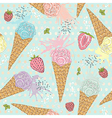 Cute seamless pattern with ice creams strawberrie vector image vector image