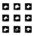 Pet dog icons set grunge style vector image
