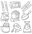 doodle of kitchen set style cartoon vector image