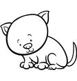 Cute kitten cartoon coloring page vector image