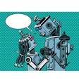 couple robots man woman love vector image