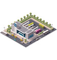 isometric bus station vector image