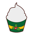 christmas cupcake celebration icon vector image