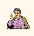 elderly woman pointing finger up isolated on vector image