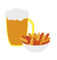 icon in flat design for restaurant beer and nuts vector image