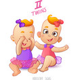 Twins horoscope sign Two cartoon baby girls vector image