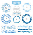 watercolor wavy brushescircle framecyanblue sea vector image