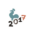 Inking or gouache rooster silhouette Grunge style vector image