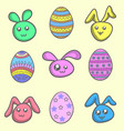 set of easter egg and easter bunny vector image